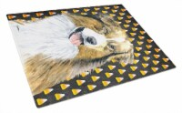 Australian Shepherd Candy Corn Halloween Portrait Glass Cutting Board Large - 12Hx15W