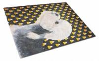 Dandie Dinmont Terrier Candy Corn Halloween Portrait Glass Cutting Board Large - 12Hx15W
