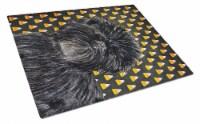 Affenpinscher Candy Corn Halloween Portrait Glass Cutting Board Large - 12Hx15W