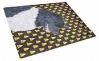 Akita Candy Corn Halloween Portrait Glass Cutting Board Large - 12Hx15W
