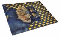 Brussels Griffon Candy Corn Halloween Portrait Glass Cutting Board Large - 12Hx15W