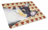 Carolines Treasures  SS4338LCB Chihuahua Fall Leaves Portrait Glass Cutting Boar - 12Hx15W
