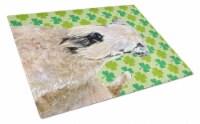 Wheaten Terrier Soft Coated St. Patrick Day Shamrock Glass Cutting Board Large - 12Hx15W