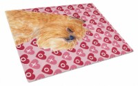 Brussels Griffon Hearts Love and Valentine's Day Glass Cutting Board Large - 12Hx15W