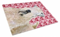Wheaten Terrier Soft Coated  Love Valentine's Day Glass Cutting Board Large - 12Hx15W