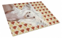 Chinese Crested Fall Leaves Portrait Glass Cutting Board Large - 12Hx15W