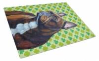 French Bulldog St. Patrick's Day Shamrock Portrait Glass Cutting Board Large - 12Hx15W