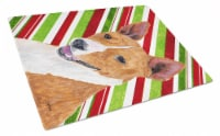 Basenji Candy Cane Holiday Christmas Glass Cutting Board Large - 12Hx15W