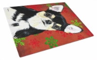 Chihuahua Red and Green Snowflakes Holiday Christmas Glass Cutting Board Large - 12Hx15W