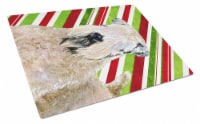 Wheaten Terrier Soft Coated Candy Cane  Christmas Glass Cutting Board Large - 12Hx15W