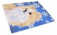Chihuahua Winter Snowflakes Holiday Glass Cutting Board Large - 12Hx15W