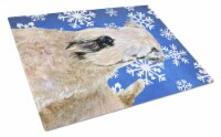 Wheaten Terrier Soft Coated Winter Snowflakes Holiday Glass Cutting Board Large - 12Hx15W