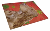 Field Spaniel Red and Green Snowflakes Christmas Glass Cutting Board Large - 12Hx15W