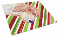 Petit Basset Griffon Vendeen Candy Cane Christmas Glass Cutting Board Large - 12Hx15W