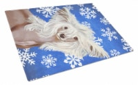 Chinese Crested Winter Snowflakes Holiday Glass Cutting Board Large - 12Hx15W