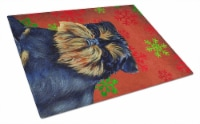 Brussels Griffon Red and Green Snowflakes Christmas Glass Cutting Board Large