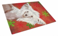 Chinese Crested Red and Green Snowflakes Christmas Glass Cutting Board Large - 12Hx15W