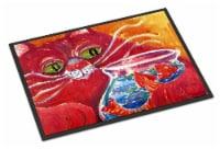 Big Red Cat at the fishbowl Indoor or Outdoor Mat 18x27 Doormat - 18Hx27W