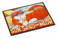 Orange Tabby at the beach Indoor or Outdoor Mat 18x27 Doormat - 18Hx27W