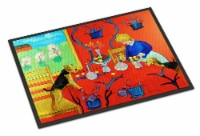 Airedale Terrier with lady in the kitchen Indoor or Outdoor Mat 18x27 Doormat - 18Hx27W