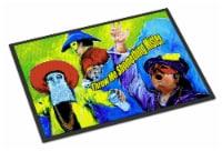 Mardi Gras Throw me something mister Indoor or Outdoor Mat 18x27 Doormat - 18Hx27W