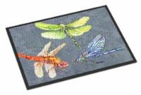 Carolines Treasures  8878MAT Dragonfly Times Three Indoor or Outdoor Mat 18x27 D