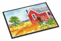 Old Red Cottage House at the lake or Beach Indoor or Outdoor Mat 24x36 Doormat - 24Hx36W