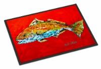 Fish - Red Fish Red Head Indoor or Outdoor Mat 24x36 Doormat - 24Hx36W