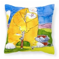 Big Cat golfing with a fishing pole  Decorative   Canvas Fabric Pillow