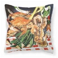 Carolines Treasures  8537PW1414 Crab Boil Decorative   Canvas Fabric Pillow - 14Hx14W