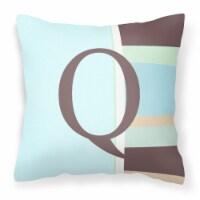 Letter Q Initial Monogram - Blue Stripes Decorative   Canvas Fabric Pillow