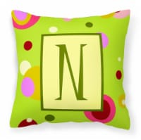 Letter N Initial Monogram - Green Decorative   Canvas Fabric Pillow