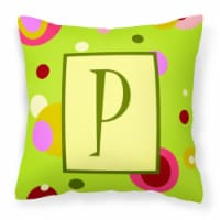 Letter P Initial Monogram - Green Decorative   Canvas Fabric Pillow