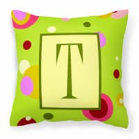 Letter T Initial Monogram - Green Decorative   Canvas Fabric Pillow