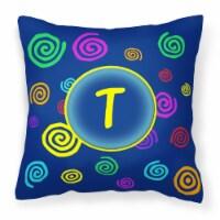 Initial Monogram - Blue Swirls Decorative   Canvas Fabric Pillow