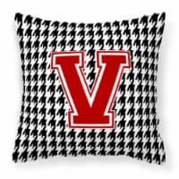Monogram - Initial V Houndstooth Decorative   Canvas Fabric Pillow CJ1021