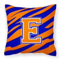 Monogram Initial E Tiger Stripe - Blue Orange Decorative   Canvas Fabric Pillow