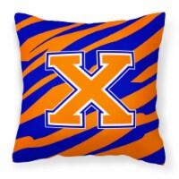 Monogram Initial X Tiger Stripe - Blue Orange Decorative   Canvas Fabric Pillow