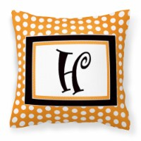 Monogram Initial H Orange Polkadots Decorative   Canvas Fabric Pillow CJ1033