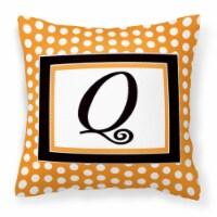 Monogram Initial Q Orange Polkadots Decorative   Canvas Fabric Pillow CJ1033