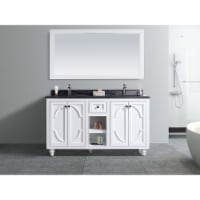 Odyssey - 60 - White Cabinet + Black Wood Marble Countertop