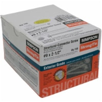 Simpson Strong-Tie #9 2-1/2 In. Hex Structure Screw (100 Ct.) SD9212R100-R Pack of 4 - 4