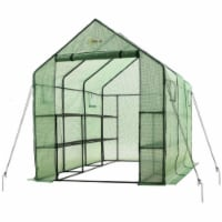 "Ogrow Spacious And Sturdy Walk-in 2 Tier 12 Shelf portable Garden Greenhouse with windows - 117"" L x 67"" W x 83"" H"