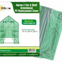 Ogrow OGRC6868-PE 2 Tier 8 Shelf Greenhouse PE Replacement Panel Cover to Fit Frame, 77 x 56