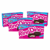 Drake's Ring Dings, 4 Boxes, 32 Individually Wrapped Ring-Shaped Devils Food Cakes - 32