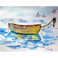 Betsy Drake PM830 Yellow Rowboat Place Mat - Set of 4