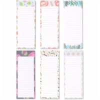 Floral Magnetic Notepads for Refrigerator, 60 Sheets Each (3.5 x 9 In, 6 Pack) - PACK