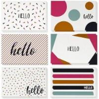48 Greeting Card Bulk Box Set w/Envelope 6 Modern Hello Design Notecards, 4 x6 - PACK
