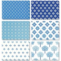 48 All Occasion Blank Greeting Card Bulk Set Blue Floral Foliage Designs, 4 x6 - PACK