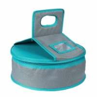 Round Insulated All-Purpose Thermal Casserole Food  Lunch Carrier, Teal  Grey
